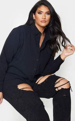 PrettyLittleThing Plus Black Fitted Denim Shirt