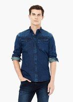 Mango Outlet Slim-Fit Dark Wash Denim Shirt