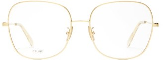 Celine Squared Butterfly-frame Metal Glasses - Womens - Gold