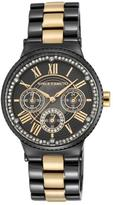 Vince Camuto Women's Black Mother-of-Pearl Dial Multifunction Bracelet Watch Embellished with Crystals from Swarovski