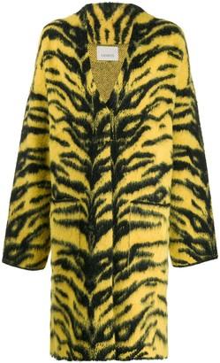 Laneus Animal Print Cardi-Coat