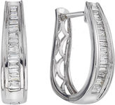 JCPenney FINE JEWELRY 5/8 CT. T.W. Certified Diamond 14K White Gold Baguette Hoop Earrings