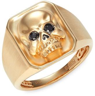 Effy 14K Yellow Gold Black Diamond Skull Ring