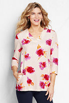 Classic Women's Starfish French Terry V-neck Tunic-Soft Rose Floral