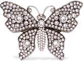 Gucci Silver-tone Crystal Brooch