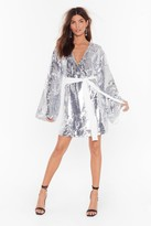 Nasty Gal Womens Disco's to Show Sequin Batwing Dress - grey - 4