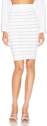 Balmain High Waist Logo Stripe Skirt in White | FWRD