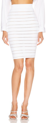 Balmain High Waist Logo Stripe Skirt in White | FWRD