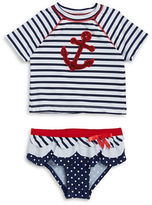 Flapdoodles Baby Girls Baby Girls Nautical Rash Guard and Bikini Bottom Set
