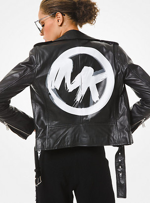 Michael Kors Brushstroke Logo Leather Moto Jacket