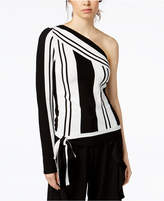 Bar III Striped One-Shoulder Sweater, Created for Macy's