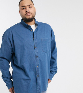 ASOS DESIGN Plus regular fit organic denim shirt in midwash with mock horn buttons