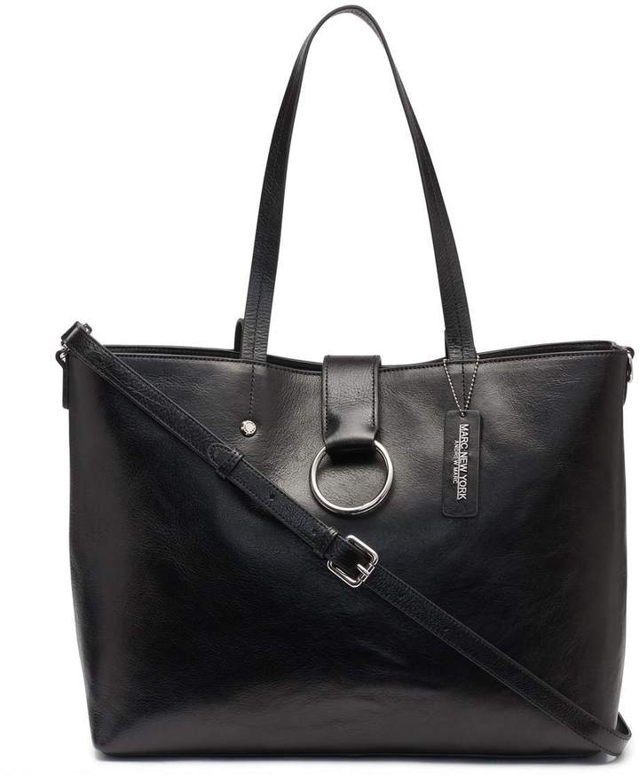 Rochester Large Open Leather Tote With Center Ring Flap