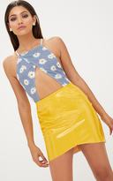 PrettyLittleThing Blue Daisy Gingham Print Thong Bodysuit