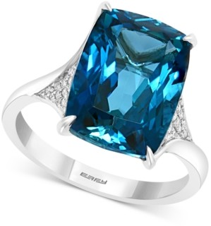 Effy London Blue Topaz (9-1/10 ct. t.w.) & Diamond (1/6 ct. t.w.) Statement Ring in 14k White Gold