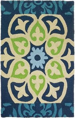"""Blue Area Ebern Designs Bessin Barcelona Tile Hand-Hooked Rug Ebern Designs Rug Size: Rectangle 2'10"""" x 4'6"""""""