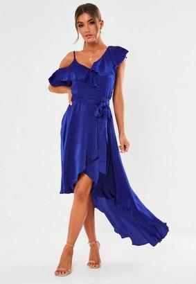 Missguided Blue Satin One Strap Ruffle Midi Dress