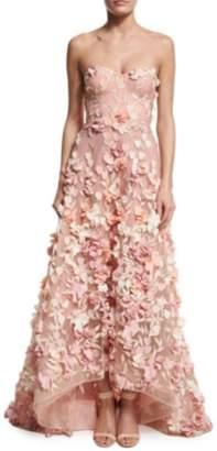 Marchesa Blush Strapless Tulle Gown