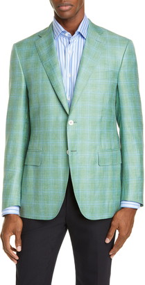 Canali Siena Soft Classic Fit Plaid Wool Blend Sport Coat