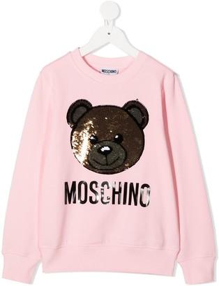 MOSCHINO BAMBINO Teddy sequin embellished sweatshirt