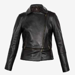 Ted Baker Leather Yaswin Zip Hem Biker Jacket - 12 - Black