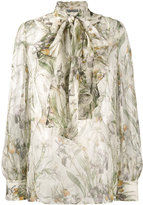 Alexander McQueen floral print pussy bow blouse - women - Silk - 46