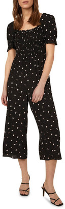 Warehouse Ditsy Square-Neck Jumpsuit