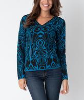 Yuka Paris Black & Turquoise Abstract V-Neck Sweater