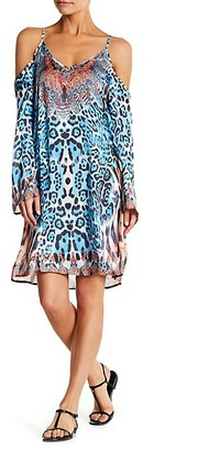 La Moda Clothing Leopard-Print Cold Shoulder Coverup