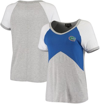 Women's Royal/Heathered Gray Florida Gators Bold Ambition Colorblock V-Neck Raglan T-Shirt
