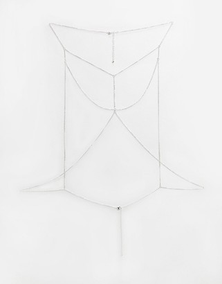 Glamorous fine body chain harness in silver