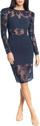 Dress the Population Sabine Sequin Floral Illusion Lace Long Sleeve Midi Dress