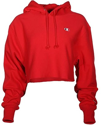 Champion LIFE Reverse Weave(r) Cropped Cut Off Pullover Hoodie (Scarlet) Women's Clothing