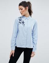 Vero Moda Embroidered Pinstripe Shirt