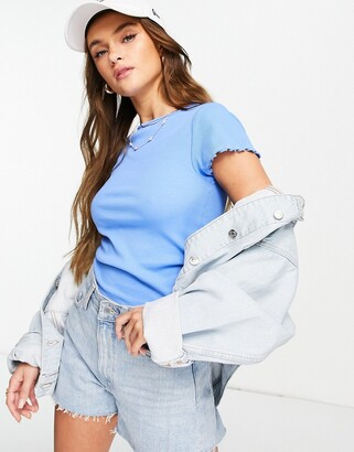 New Look lettuce edge t-shirt in blue