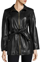 Ellen Tracy Mid Length Zip Front Belted Leather Coat