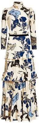 Johanna Ortiz Sheer Decoration Floral Long-Sleeve Tiered Ruffle Silk Maxi Dress