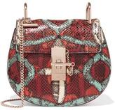 Chloé Drew Mini Suede-trimmed Watersnake Shoulder Bag - Brick