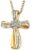 Silver Cross FINE JEWELRY 1/4 CT T.W Diamond 14K Yellow Gold-Plated Sterling Pendant Necklace