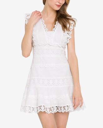 Express Endless Rose Lace Trim V-Neck Dress