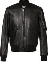 Saint Laurent leather bomber jacket - men - Cotton/Lamb Skin/Polyurethane/Cupro - 50
