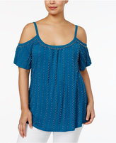 INC International Concepts Plus Size Beaded Cold-Shoulder Top, Only at Macy's
