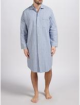 Derek Rose Brushed Cotton Stripe Nightshirt, Blue/white