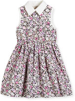 Kate Spade Sleeveless Floral Smocked Poplin Shirtdress, Pink, Size 2-6