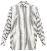 The Row Big Sisea Striped Silk Shirt - Womens - White Black