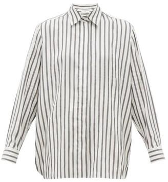 The Row Big Sisea Striped Silk Shirt - White Black