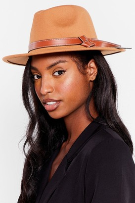 Nasty Gal Womens It's Knot Over Faux Wool Fedora Hat - Camel
