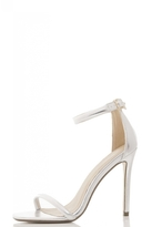 Quiz Silver Metallic Low Heel Barely There Sandals