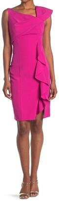 Marina Asymmetrical Sheath Ruffle Dress