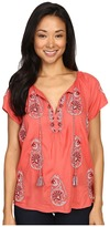 Lucky Brand Embroidered Short Sleeve Top